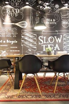 15 Ideas For Design Interior Cafe Coffee Shop Chalkboard Walls Deco Restaurant, Restaurant Design, Restaurant Ideas, Design Hotel, Coffee Shop Design, Cafe Design, Interior Design, Luxury Interior, Café Bar
