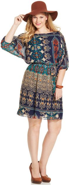 Plus Size Dress - Plus Size Printed Belted A-Line Dress  (pair w booties and bangles)