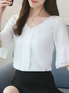 V-Neck Frill Sleeve Solid Beaded Chiffon Blouse Blouse Styles, Blouse Designs, Sewing Blouses, Fashion For Petite Women, Beaded Chiffon, Business Outfits, Lace Tops, Classy Outfits, Women's Fashion Dresses