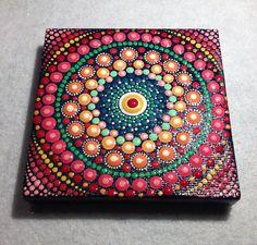 Original Red Mandala Painting on Canvas by CreateAndCherish