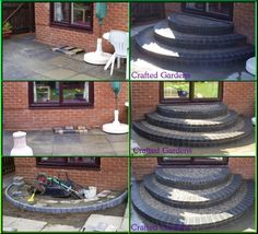 How to build a circular brick steps on your back patio. Patio Steps, Front Porch Steps, Brick Steps, Front Stoop, Outdoor Steps, Garden Steps, Back Patio, Backyard Patio, Indoor Outdoor