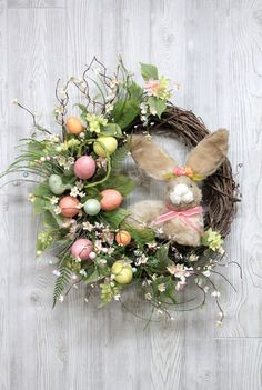 Easter Bunny Wreath Easter Decorations Easter by TheWreathShed