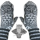 Beautiful mittens with a night owl - for those of us who like to stay up all night.