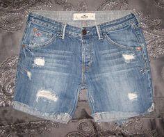 Size 3 26W HOLLISTER Women's Low Rise Destroyed Medium Wash Bermuda Jean Shorts