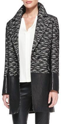 Belstaff Leather-Panel Tweed Coat