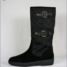 Black Coach signature Tinah boots Like new, worn once , no flaws, I lived on a island and now in FL, no need for winter boots , boot they are so cute and classy , a nice addition to any ones winter boot collection, very comfy, suede and signature coach boot, silver hard wear. Coach Shoes Winter & Rain Boots