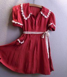 Vintage 1940s Girls Dress Deep Red Crepe by SweetRepeatVintage