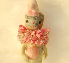 Spun cotton batting vintage Craft baby Easter lamb by jejemae Easter Lamb, Easter Bunny, Animal Party, Party Animals, Ornament Tutorial, Feather Tree, Pink Parties, Vintage Crafts, Needle Felting