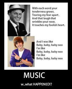 Lyrics of Frank Sinatra vs. Lyrics of Justin Bieber.