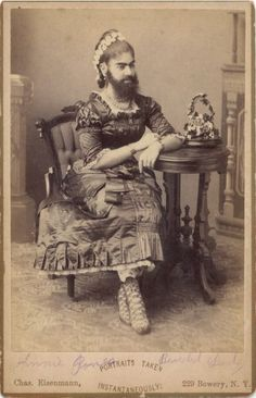 """[carte de visite portrait of Annie Jones, """"Bearded Lady""""], Charles Eisenmann via the Syracuse University Library, Ronald G. Becker Collection of Charles Eisenmann Photography Vintage Pictures, Old Pictures, Old Photos, Ghost Pictures, Vintage Photography, Amazing Photography, Halloween Circus, Human Oddities, Creepy Photos"""