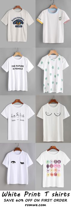 print white t shirts 2017 - romwe.com