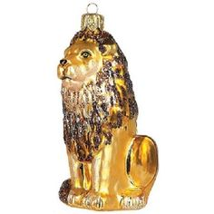 Lion Polish Glass Christmas Ornament Wildlife Decoration Made in Poland