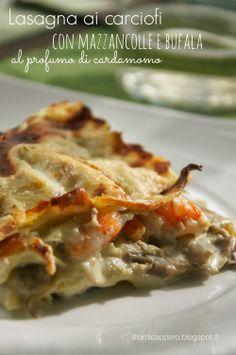 Lasagna con carciofi, mazzancolle e bufala. Italian Cooking, Italian Recipes, Ricotta, Veg Lasagne, Rice Pasta, Your Recipe, I Love Food, I Foods, Food Porn