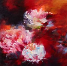 'Peonies 1', oil by Jane Blackmore