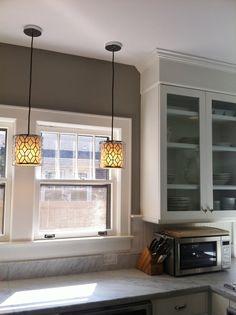 gray walls in white kitchen
