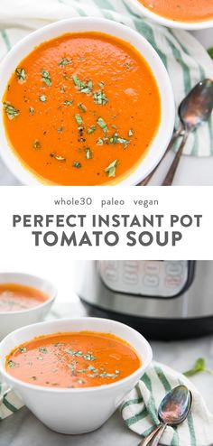 This right here is the perfect Whole30 Instant Pot tomato soup (vegan) recipe. Creamy and rich but dairy-free and refined-sugar-free, this Whole30 Instant Pot tomato soup comes together easily and is the perfect nourishing and comforting soup for any Whole30, paleo, or vegan diet. No one would ever guess it's Whole30 or vegan, either! #instantpot #whole30 #vegan #paleo Dairy Free Tomato Soup, Vegan Tomato Soup, Tomato Soup Recipes, Healthy Tomato Soup Recipe, Tomato Soup Cake, Vegan Soups, Healthy Soup, Healthy Eats, Whole 30 Tomato Soup