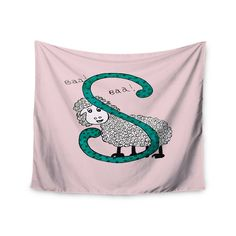"Rosie Brown ""Sis for Sheep Pink"" Pink Teal Wall Tapestry"