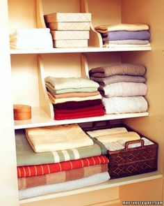Neat Stacks      To prevent folded clothes and linens from toppling, use wooden dividers.     How to Make the Wooden Dividers     Loading the next gallery...
