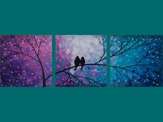 triple canvas painting idea - three square canvases of purple to white to teal night sky and black tree silhouette with its branches stretching to all three canvases and birds sitting in the middle.