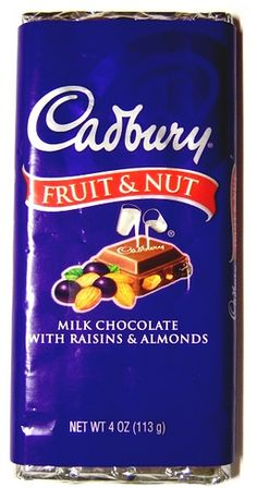 Cadbury Fruit & Nut (milk chocolate bar with raisins & almonds) My Parents Favourite Chocolate Bar