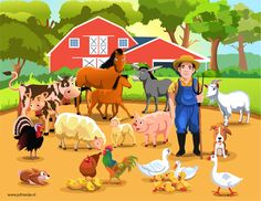 Illustration about Lots of farm animals and a farmer living together in harmony. Illustration of country, cartoon, ranch - 31549182 Photo Wallpaper, Kids Wallpaper, Farm With Animals, Farm Vector, Kindergarten, Picture Composition, Wallpaper Stickers, Farm Pictures, Free To Use Images