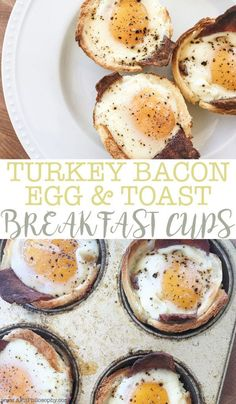 Turkey Bacon, Egg & Toast Breakfast Cups are made with only 3 ingredients and gluten free! These tasty breakfast cups are perfect for your next girls brunch or family get together!