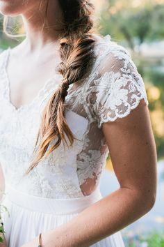 Lace cap sleeves | Photography: Kayla Adams - kaylaadams.net  Read More: http://www.stylemepretty.com/california-weddings/2015/05/07/rustic-bohemian-karkut-wedding/