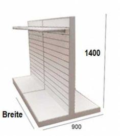 Ladeneinrichtungen, Geschäftsausstattungen Komplettangebot-Lamellenwand-Mittelraumregal TM H=140cm, T=90cm