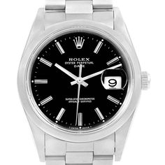 16055 Rolex Date Black Baton Dial Domed Bezel Steel Mens Watch 15200 SwissWatchExpo