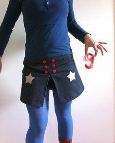 J 9 : MeMadeMars 2016 Du fil et mon ... : jupe short en jeans version 1 !