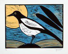 linocut, magpie, full moon, woodland, yellow, blue, black, bird, printmaking, nature art, forest bird, graphic art, stylized art, by linocutheaven on Etsy https://www.etsy.com/au/listing/533815954/linocut-magpie-full-moon-woodland-yellow