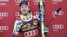 El noruego Kjetil Jansrud celebra su triunfo en el supergigante de Val Gardena. Crédito foto AFP