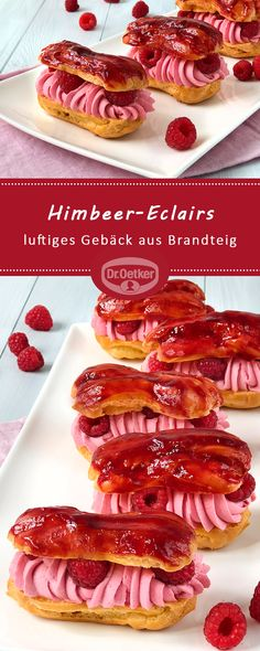 Himbeer-Eclairs Raspberry eclairs: love bones - airy pastry made from choux pastry filled with a raspberry cream and fresh raspberries Authentic Mexican Recipes, Mexican Food Recipes, Profiteroles, Raspberry Cupcakes, Easy Salsa Verde Recipe, Pasta Choux, Mexican Pastries, Cake, Sweets