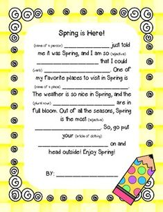 """What student doesn't love a good madlib?? :)This is just a short and sweet SPRING THEMED madlib to get your kiddos thinking about some parts of speech while making a funny little paragraph!Hope you enjoy this FREEBIE! Be sure to check out my other SPRING products by searching """"SPRING"""" on my STORE page!"""