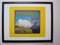 Vintage Original 1940s MOUNTAIN GOAT CHELAN APPLES Fruit Crate Box Label NOS