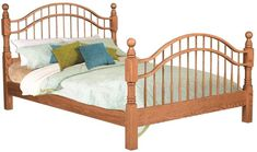 Amish Country Double Bow Bed We can see it now. The Amish Country Double Bow Bed in bedroom or guest room with plush bedding in a pretty print. Shown here in oak wood. Amish Furniture, Solid Wood Furniture, Furniture Making, Bedroom Furniture, Country Style Furniture, Luxury Bedding, Modern Bedding, Amish Country, Wood Beds