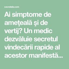 Ai simptome de ameţeală şi de vertij? Un medic dezvăluie secretul vindecării rapide al acestor manifestări - Secretele.com Alter, Good To Know, Health Fitness, Healthy, Teas, Pizza, Medicine, Tees, Cup Of Tea