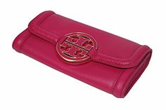 Tory Burch Wallet Leather Amanda Snap Continental Wallet - Carnation Red Magenta