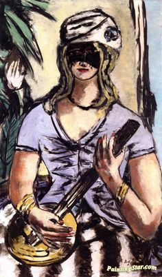 Girl with Banjo and Mask Artwork by Max Beckmann Hand-painted and Art Prints on canvas for sale,you can custom the size and frame