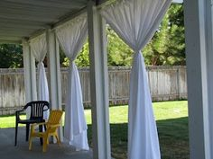 Everyday Expressions: Patio Revamp: Stage 2 ~ Outdoor Curtains Tutorial ~ this is ABSOLUTELY the look I want for our patio! Outside Curtains, Outdoor Curtains For Patio, Porch Curtains, Outdoor Rooms, Outdoor Living, Outdoor Decor, Shower Curtains, Sliding Curtains, Patio Gazebo