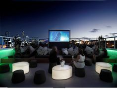 TV on a rooftop deck- awesome.