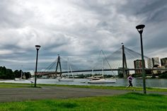 Storms roll in over the Anzac Bridge.