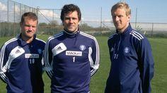 HJK captains Teemu Tainio, Ville Wallen and Mathias Lindström