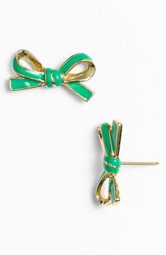 kate spade new york 'skinny mini' bow stud earrings | Nordstrom  item #581075  Color:GREEN/ GOLD  $48.00