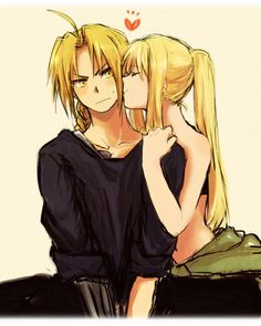 ahoge asymmetrical arms bandeau bare shoulders blonde hair blush braid cheek kiss couple edward elric eyes closed frown fullmetal alchemist hand on shoulder heart hetero kiss long hair mechanical arm midriff navel ponytail sidelocks sleeveless t Fullmetal Alchemist Brotherhood, Fullmetal Alchemist Mustang, Fullmetal Alchemist Alphonse, Alphonse Elric, Manga Anime, Anime Kiss, Fanarts Anime, Winry And Edward, Ed And Winry