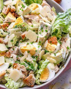 Low Carb Chicken Salad, Chicken Caesar Salad, Healthy Chicken, Plats Healthy, Healthy Salads, Diet Recipes, Healthy Recipes, Large Salad Bowl, Batch Cooking