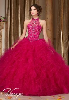 Morilee Vizcaya Quinceanera Dress 89103 JEWELED BEADING ON A RUFFLED TULLE BALL GOWN  Matching Bolero Jacket. Available in Fuchsia, Mint Leaf, Cobalt, White (Color of this dress): Fushia