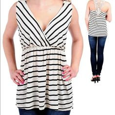 ***Plus Size*** Black striped top Black striped top. V-neck. Crochet back. 43% rayon 32% polyester 25% cotton. Made in USA. G1b1c.  Please DO NOT buy this listing. If you're interested please let me know and I will create you a new listing. Thank you. Tops