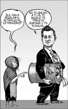Todos contentos?. Repartiendo: Mexicanos con despensa, @EPN la silla y el extranjero el petróleo  La Jornada: Cartones