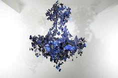 Stunning 'Virtue of Blue' Chandelier Made From 500 Fluttering Solar Butterflies   Inhabitat - Green Design, Innovation, Architecture, Green Building